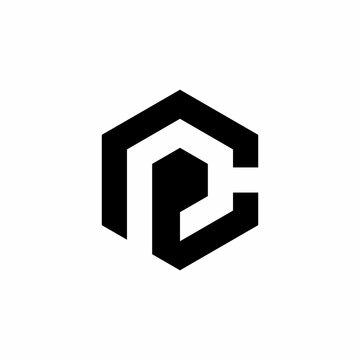 PC P C letter logo design