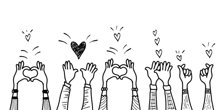 doodle hands up,Hands clapping with love. applause gestures. congratulation business. vector illustration