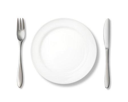 白バックに皿とナイフ、フォークのある背景テクスチャー