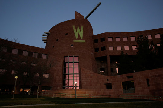 """The letter """"W"""" for U.S. Democratic presidential candidate Senator Elizabeth Warren is projected onto the Clark County Government Center ahead of a Warren campaign town hall event with former presidential candidate Julian Castro at the Clark County Gove"""
