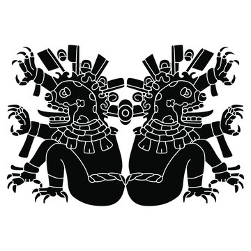 Symmetrical decor with two Aztec demons. Native American art of Mexican Indians. Black and white silhouette. isolated vector illustration.