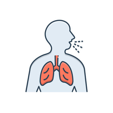 Color illustration icon for asthma