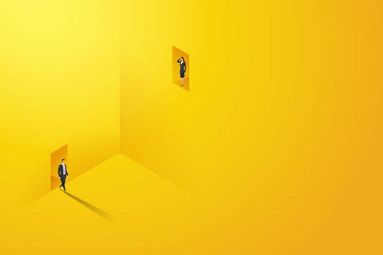 Business different inequal career opportunities between man woman. illustration Vector