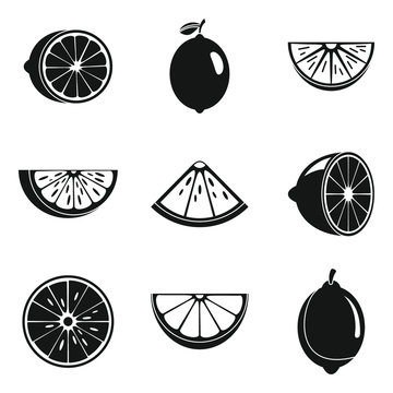 Lime fruit icons set. Simple set of lime fruit vector icons for web design on white background