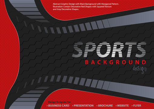 Abstract Red-Black Background in Sport Design Style with Decorative Shapes and Hexagonal Pattern - Modern Illustration for Your Projects, Vector