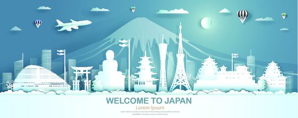 Fotomurales - Travel Japan famous landmarks top of world castle ancient architecture and palace. Modern business brochure design on blue color background.Tourism in asia with paper origami, Vector illustration.