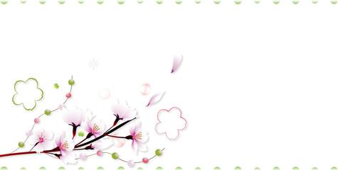 桜の花に玉飾りと桜型のオブジェのイラストアート長形レイアウトバナー素材