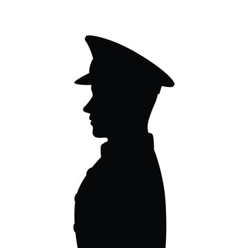 Side of police man or soldier silhouette vector