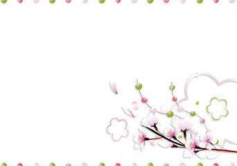 桜の花に玉飾りと桜型のオブジェのイラストアート長方形レイアウト横スタイル背景素材