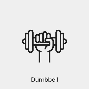 dumbbell icon vector. Linear style sign for mobile concept and web design. dumbbell symbol illustration. Pixel vector graphics - Vector.