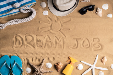 Dream Job Written On Sand
