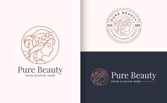 Beauty Woman Logo design with circle badge