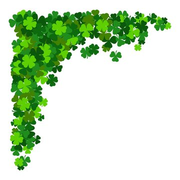 St. Patricks corner border of shamrock. Vector illustration