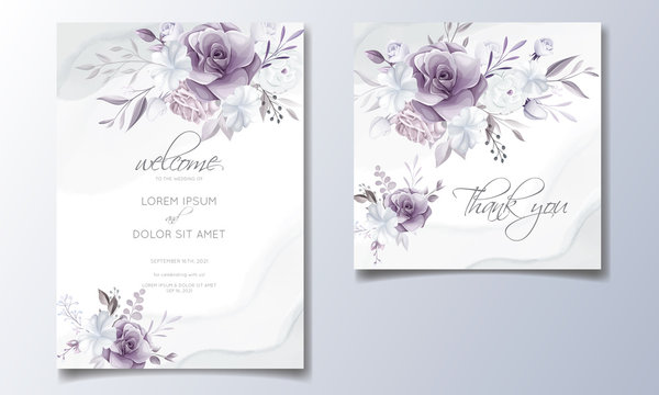 Elegant wedding invitation card with beautiful purple and white floral