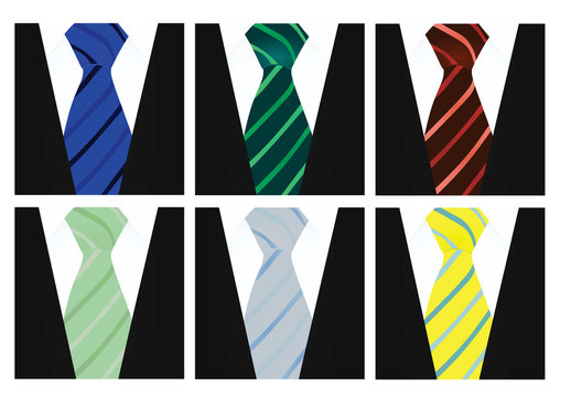 White shirt and black suit with colorful tie set. close up. vector
