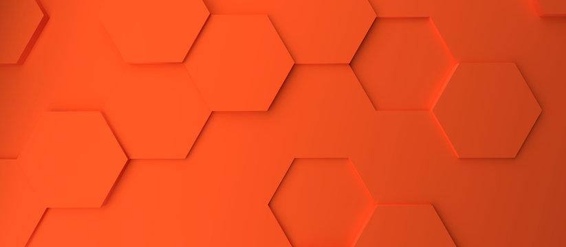 Abstract modern orange honeycomb background
