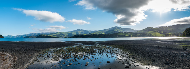 Aluminium Prints Blue Panorama Bay with green Hills New Zealand