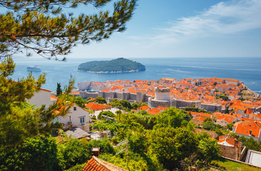Fototapete - Majestic view at famous city of Dubrovnik. Croatia, South Dalmatia, Europe.