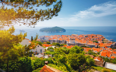 Fototapete - Splendid view at famous city of Dubrovnik. Croatia, South Dalmatia, Europe.
