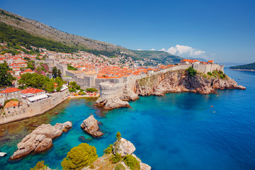 Fototapete - Aerial view at famous city of Dubrovnik. Croatia, South Dalmatia, Europe.