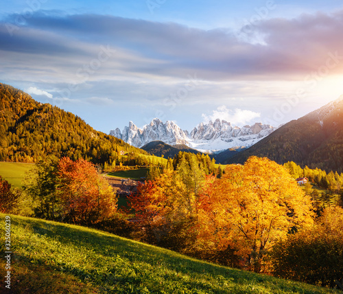 Wall mural Perfect landscape in Santa Magdalena. Location place Funes valley, Italy, Europe.