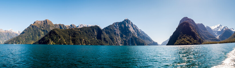 Mountains at the sea fjord New Zealand