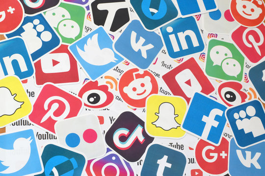 Many paper logos of popular social networks and internet resources. Colorful banner