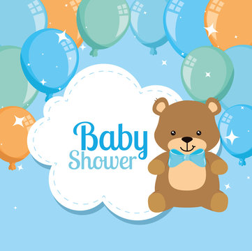 baby shower card with cute bear and balloons helium design