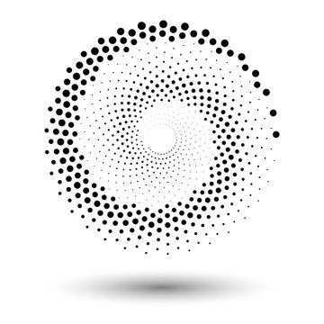 Spiral dots backdrop. Halftone shapes, abstract logo emblem or design element for any project