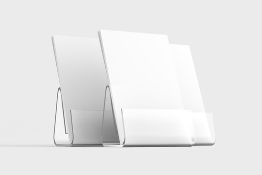 Desk Calendar With Transparent Plastic Stand 3D Rendered White Blank Mockup