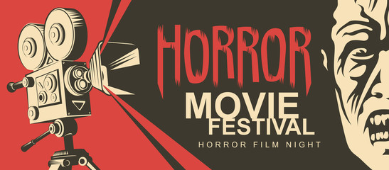 Vector poster for a horror movie festival. Illustration with old film projector and face of a creepy zombie. Horror film night. Scary cinema. Can be used for tickets, flyer, banner, web design