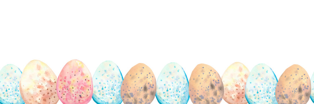 Watercolor hand drawn seamless border with  Easter eggs.  Seamless eggs frame. Easter invitation.