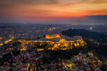 Fototapete - Panorama der Altstadt Plaka und der beleuchteten Akropolis von Athen am Abend, Griechenland