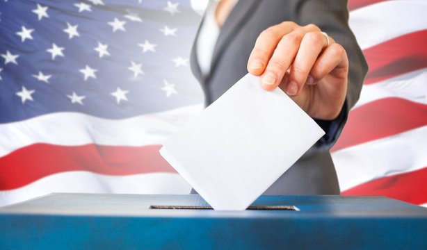 elections in the US - voting ballot and American flag