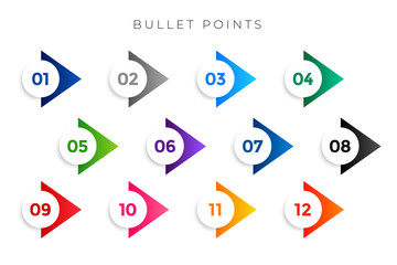 stylish arrow bullet points numbers from one to twelve Fotomurales