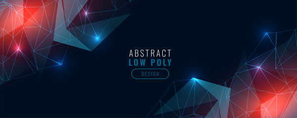 low poly digital technology glowing banner design Fototapete
