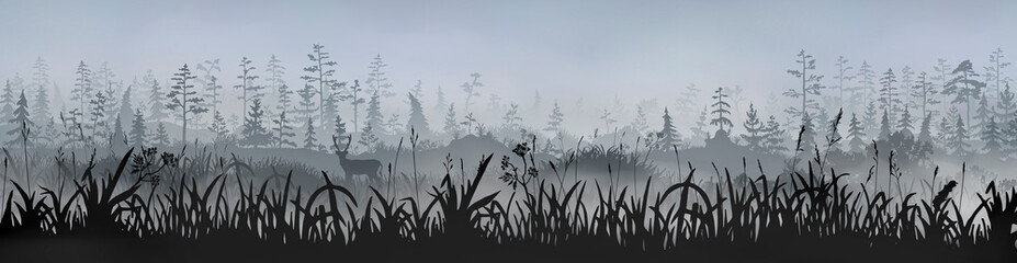 Grass field with a deer in front of the foggy grey morning forest. Vector horizontal long side image for banner, sticker, label, tag.