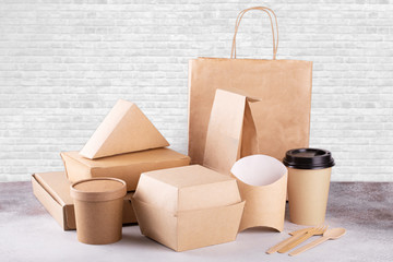 Recycling concept. Delivery food background. Fast food eco packaging on white wall background