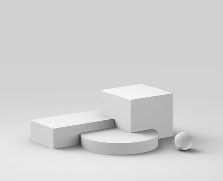 3d white gray  podium minimal studio background. Abstract 3d geometric shape object illustration render. Display for cosmetics and beauty fashion product.