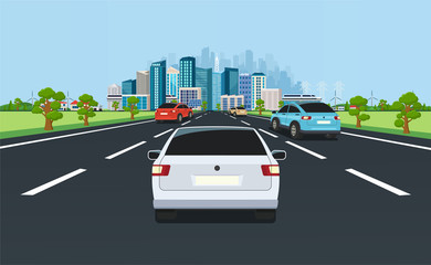 Poster de jardin Cartoon voitures City traffic on highway with panoramic views of the modern city with skyscrapers and suburbs on background mountains, hills. Road with cars leading to the city.