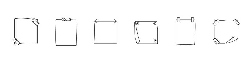 Note paper/scratch paper with and without fill .Vector illustration Fotobehang