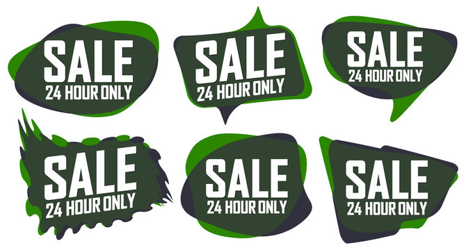 Set Sale tags, 24 Hour Only, discount banners design template, promo collection, vector illustration