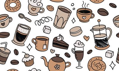 Slats personalizados para cozinha com sua foto Beautiful pattern seamless of cofe. Natural coffee, desserts, pastries, cup, tea, hand drawn style retro. Vector decorative cute elegant illustration isolated white background