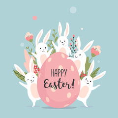 Easter card with cute bunnies and text, hand drawn vector illustration.