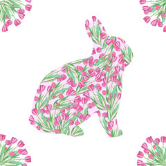 A watercolor pink Easter Bunny with tulips
