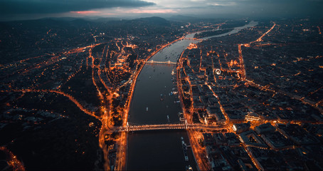 Aerial view Colorful Budapest dramatic sky Fantastic Fotobehang