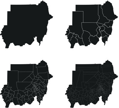 Sudan vector maps with administrative regions, municipalities, departments, borders