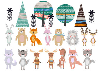 Cute Scandinavian Style Animals and Design Elements