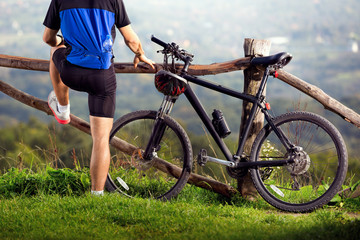 bicyclist taking a break