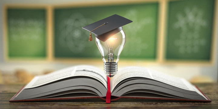 Education, learning on school and university or idea concept. Open book with light bulb and graduation cap on classroom blackboard background.